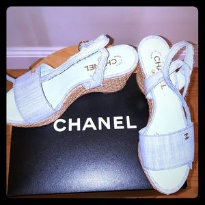 Brand new Chanel denim wedges.